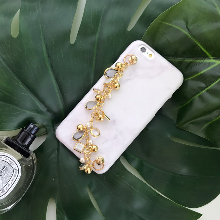 crystal gold chain marble phone case