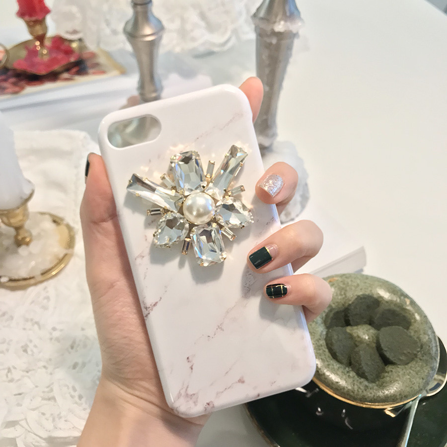 point pearl marble phone case