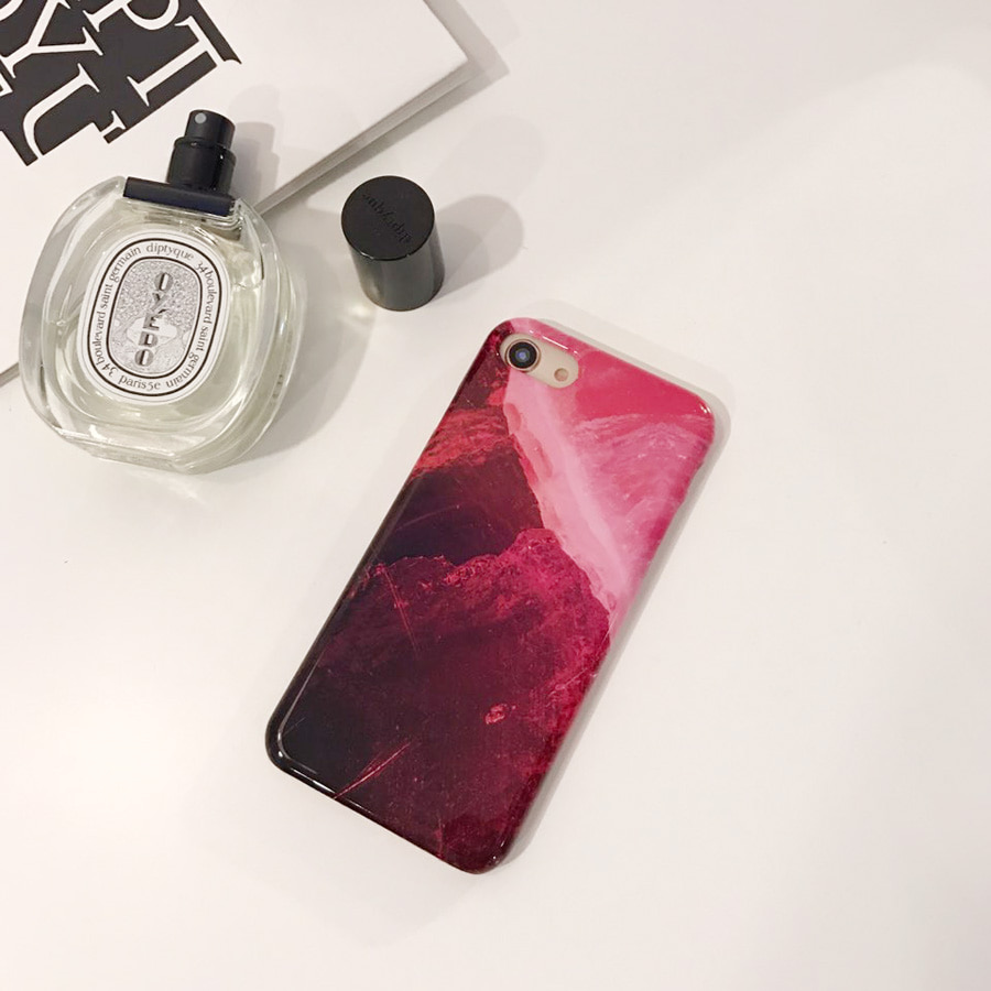 strawberry stone marble phone case