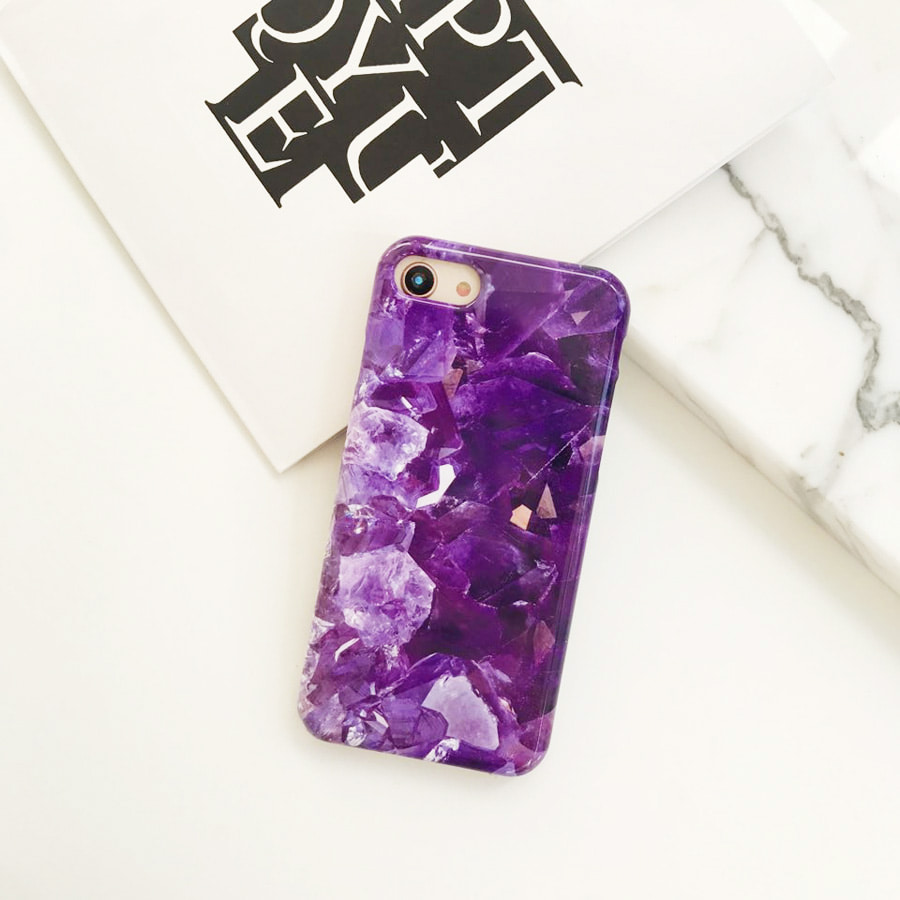 Pansy marble phone case